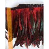 1 м. Красный цвет. Тесьма 2-х цветная из перьев петуха 20-25 см