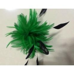 TY-11. Зеленый цвет. Заколки из перьев птиц для волос и броши