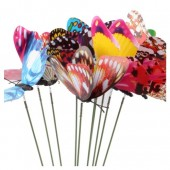 Микс цвет. Бабочки на палочке 4см в цветы