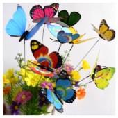 Микс цвет. Бабочки на палочке 4 см в цветы