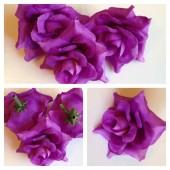3113. Фиолетовый цвет. Цветные головки роз 5 см