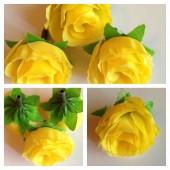 1515. Желтый цвет. Цветные головки роз 4 см
