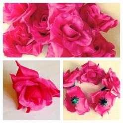 357. Фуксия цвет. Розы головки. Искусственные цветы