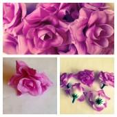 357. Фиолетовый цвет. Розы головки. Искусственные цветы