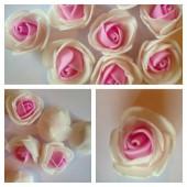 2121. Белый- розовый цвет. Цветные головки роз 3 см