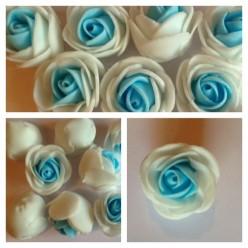 2121. Белый-голубой цвет. Цветные головки роз 3 см