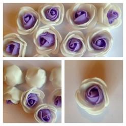 2121. Белый-фиолетовый цвет. Цветные головки роз 3 см