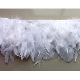 1 м. Белый цвет. Тесьма из плавающих перьев 8-12 см