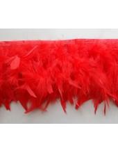 1 м. Красный цвет. Тесьма из плавающих перьев 8-12 см