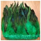 1 м. Зеленый цвет. Тесьма из перьев 14-19 см