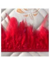 1 м. Красный цвет. Тесьма из перьев 6-11 см
