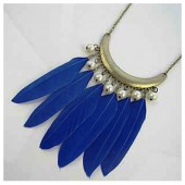 0918. Синий цвет. Подвеска из перьев птиц