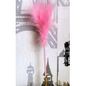 С-4. 1 шт. Розовый цвет. Ручка из перьев боа