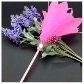 О-2. 1 шт. Розовый цвет. Ручка с перьями птиц