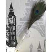 В-1. Белый цвет. Ручка с перьями павлина