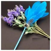 О-1. 1 шт. Голубой цвет. Ручка с перьями птиц
