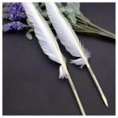 Ш-1. 1 шт. Белый цвет. Гусиное перо ручка