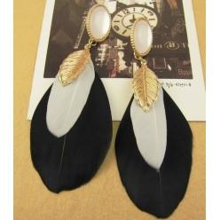08. Микс  цвет. Серьги из перьев страуса.