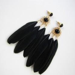 36. Черный цвет. Серьги из перьев птиц