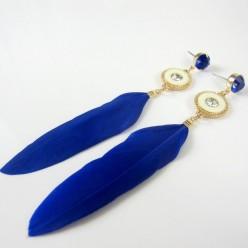 102. Синий цвет. Серьги из перьев птиц