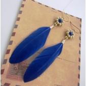 135. Синий цвет. Серьги из перьев птиц