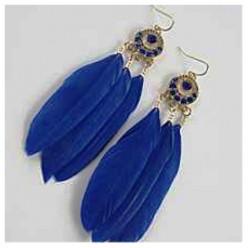 43. Синий цвет. Серьги из перьев птиц