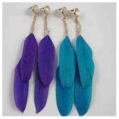 128. Голубой цвет. Серьги из перьев птиц