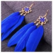 138. Синий цвет. Серьги из перьев