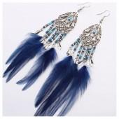 212. Синий цвет. Серьги с перьями