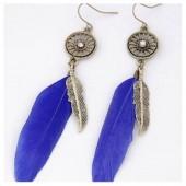 06. Синий цвет. Серьги из перьев страуса. Цветные.