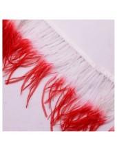 1 м. Белый с красным цвет. Тесьма из перьев страуса. 2-х цветная