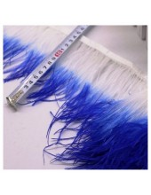 1 м. Белый с синим цвет. Тесьма из перьев страуса. 2-х цветная