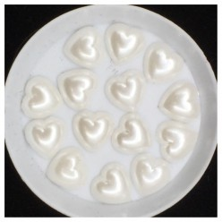 Белый цвет. Сердечки жемчужные 11 х 11 мм. Клеевые 50 гр