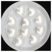 Белый цвет. Сердечки жемчужные 13 х 14 мм. Клеевые 50 гр