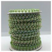 1 м. Зеленый хамелеон цвет. Жемчужины цветные. 0.5 см. З-3