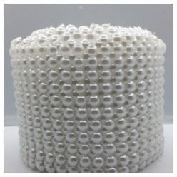 1 м. Белый цвет. Жемчужная лента. Ширина 11 см. № 8