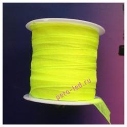 2 м. Лимонный цвет. Лента капроновая цветная 1 см
