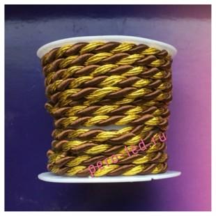 2 м. Коричневый с золотом. Тесьма жгут 0.5 см