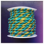 2 м. Голубой с золотом. Тесьма жгут 0.5 см
