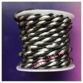 2 м. Черный с серебром. Тесьма жгут 0.5 см