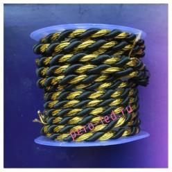 2 м. Черный с золотом. Тесьма жгут 0.5 см