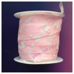 2 м. Розовый цвет. Лента капроновая с сердечками 2.5 см