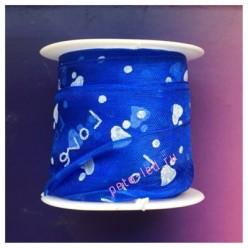 2 м. Синий цвет. Лента капроновая с сердечками 2.5 см