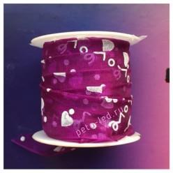 2 м. Фиолетовый цвет. Лента капроновая с сердечками 2.5 см