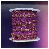 2 м. Фиолетовый с золотом цвет. Тесьма ажурная 0.7 см