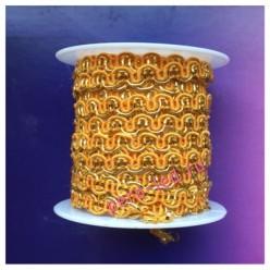 2 м. Оранжевый с золотом цвет. Тесьма ажурная 0.7 см