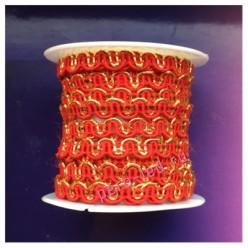 2 м. Красный с золотом цвет. Тесьма ажурная 0.7 см