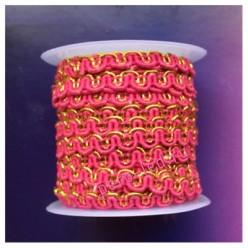 2 м. Фуксия с золотом цвет. Тесьма ажурная 0.7 см