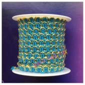 2 м. Голубой с золотом цвет. Тесьма ажурная 0.7 см