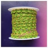 2 м. Зеленый с золотом цвет. Тесьма ажурная 0.7 см
